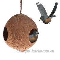GUBENM cage oiseaux decorative- Distributeur de nourriture de nid d'oiseau cachant la caverne - Chambre accrochante de perroquets de noix de coco avec 3 trous de distributeur - B07D3S92JW