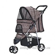 Anaelle Pandamoto Poussette Chariot pour Chien Chat Animaux Pliable Imperméable en Nylon  Taille: 70 x 45 x 99cm  Poids: 5kg  Léopard - B073XMGXT2