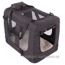 TRESKO® Boîte de transport pliable pour chiens  chats  chiots  animaux domestique  Sac de transport de voiture  pliable  diverses couleurs et tailles au choix Noir M 57 x 41 x 43 cm - B01GVKQKDS