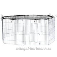 TecTake Enclos extérieur avec filet de protection pour petits animaux | Diamètre env. 145 cm | Noir - B072X95LGR