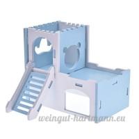 Yunt Cage pour Hamster Maison Nid de Couchage Amovible en Bois avec Jouet Échelle pour Hamsters Dorés / Cochons d'Inde / Cavias Porcellus (Bleu) - B07B2DS5LF