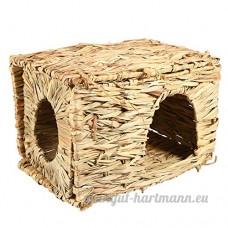 Cabane Lapin Hamster d'herbe paille Petit Lit cage maison pliable tissé à la main pour petits animaux lit Hamster jouant maison sommeil 30*23*20cm - B079M5ZZ9W