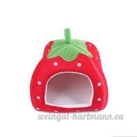 Ecloud Shop Cat Belle Puppy Strawberry chaud Maison en peluche Cozy Nest Mat Pad Pet Nest Cat Dog Bed Pliable Rouge Taille L - B01I4MTCYA