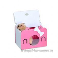 Petit Animal House Avec Openable Top pour Les Petits Animaux Hamster Jouer à Toy par Awhao Rose - B072HG711G