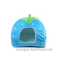 Ecloud Shop Cat Belle Puppy Strawberry chaud Maison en peluche Cozy Nest Mat Pad Pet Nest Cat Dog Bed Pliable Bleu Taille L - B01I4MT1VY