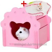 Hypeety Hamster Maison Cage Bois jouet à mâcher DIY coloré Cabane pour hamster gerbille Rat Petits Animaux Cachette avec gratuit Hamster Laisse - B07D9M5Y1G