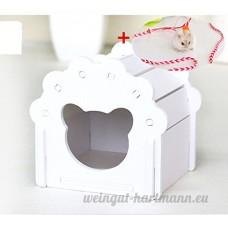 Hypeety Hamster Maison Cage Bois jouet à mâcher DIY coloré Cabane pour hamster gerbille Rat Petits Animaux Cachette avec gratuit Hamster Laisse - B07D9L254L