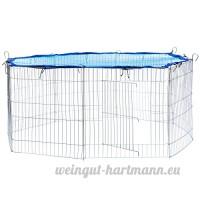 TecTake Enclos extérieur avec filet de protection pour petits animaux | Diamètre env. 145 cm | Bleu - B072X8KMPL