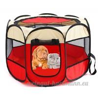 Xiaoyu cage de parc portative pour animaux  intérieur/extérieur cage pour chiens  convient pour chiens/chats/petits animaux  beige-Rouge  S - B078487H6M