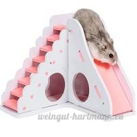 Su-luoyu Maison Villa en Bois Jouet pour Hamster écureuil Petits Animaux de compagnie avec Escalier Slide - B07DG1H88V