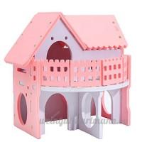 Starter Hamster House Petite Maison en bois colorée pour Bear Baby Two-couche écologique Villa avec balcon Cage pour Hamster - B07DCMPWRP