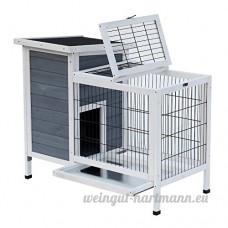 Clapier sur pieds cage à lapin avec niche intérieure plateau excrément coulissant porte supérieure 92L x 55l x 76H cm gris blanc 85 - B079PJ8KRX