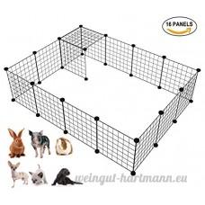 Langxun Organisateur de cubes de stockage de fil de métal  petite cage animale de bricolage pour le lapin  cobayes  chiot | Clôture mobile de yard de fil en métal de produits d'animal familier (noir  16 panneaux) - B078BC54SJ