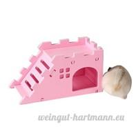 Roblue Nid de Hamster Ours Abeille Nid de Couches de Cochon d'Inde Villa avec des Escaliers en Plastique - B07D1JDGK3