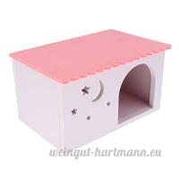 non-brand MagiDeal Maison Couchage Hamster Ecureuil Habitat Cave Jouet pour Petit Animal - Motif Maison Rose - B07CVLXXFG