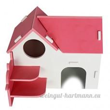 Su-luoyu Maison Cabine Bois étage pour Hamster écureuil petits animaux de compagnie Adorable (Rose) - B07CTJN3KR