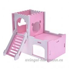 Su-luoyu Maison Villa Cabine pour Hamster écureuil petits animaux de compagnie 2 Couches avec Escalier Adorable (Rose) - B07CTJ9GX2