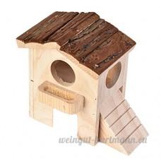 Su-luoyu Maison Villa Cabine en Bois pour Hamster écureuil petits animaux de compagnie avec Escalier Naturel Luxueux - B07CTJ6N4N