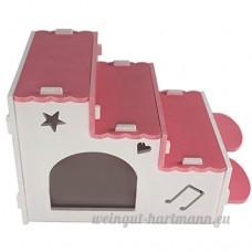 Su-luoyu Maison Cabine Escalier Bois pour Hamster écureuil petits animaux de compagnie Adorable (Rose) - B07CTHHKPZ