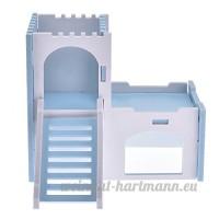 Su-luoyu Maison Villa Cabine pour Hamster écureuil petits animaux de compagnie 2 Couches avec Escalier Adorable (Bleu) - B07CTH3VDL