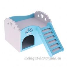 perfk Maison Dormir de Hamster en Bois - Château avec Echelle - Bleu - B07CJPP4J7