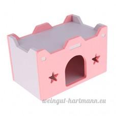 MagiDeal Couchage de Hamster Ecureuil Habitat Cave Jouet Dormir pour Petit Animal - Motif Château - Rose - B07CHCZT2B
