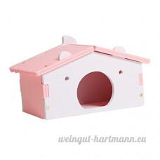 Dolity Couchage Dormir de Hamster Jouet en Bois Lit Cage de Petit Animaux Mignon - Motif Maison - Rose - B07C8B4HPF