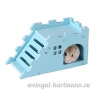 Roblue Nid de Hamster Ours Abeille Nid de Couches de Cochon d'Inde Villa avec des Escaliers en Plastique - B07D1JR6QN