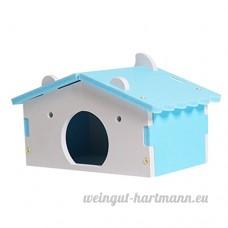 perfk Couchage Dormir de Hamster en Bois en Forme en Maison - Bleu - B07CJX594Q