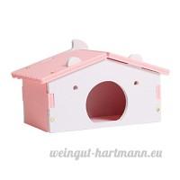 perfk Couchage Dormir de Hamster en Bois en Forme en Maison - Rose - B07CJPZ8VZ