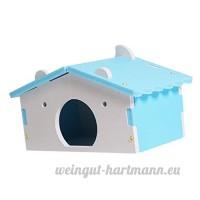 Dolity Couchage Dormir de Hamster Jouet en Bois Lit Cage de Petit Animaux Mignon - Motif Maison - Bleu - B07C8CXGV2