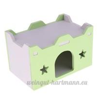 Dolity Couchage Dormir de Hamster Jouet en Bois Lit Cage de Petit Animaux - Château - Vert - B07C8CCMN2