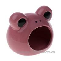 non-brand MagiDeal Hamster Cachette Couchage Froid d'Eté Maison pour Petit Animal Gerbille - Motif Ours - Rose - B07CW44JQR