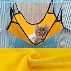 Kingwin double usage respirant pour animal domestique Chat Cage pour animal domestique en polaire Hamac (Jaune) - B076GXKP9L