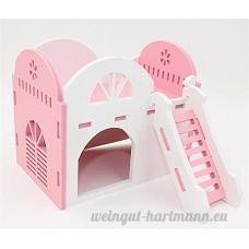 Pet Online Petite maison d'animaux Maison à double couche en bois Villa Hamster Maison à mini hérisson  rose - B075FSLMN7