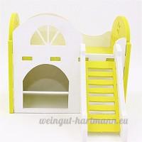 Pet Online Petite maison d'animaux Maison à double couche en bois Villa Hamster Maison à mini hérisson  jaune - B075FRZJLR