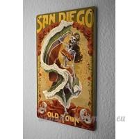 Plaque émaillée Rétro Signe Métropole San Diego USA - B06X9K9FPV
