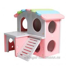 D DOLITY Couchage de Hamster en Bois Jouet Lit Cage de Petit Animaux - Double Couche - B07CVDYG5W