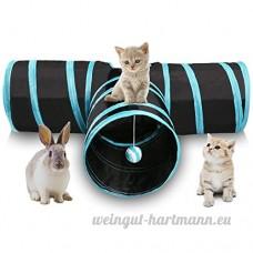 Miaosun Tunnel pour chat à 3voies Pliable Avec balle Spacieux Pour chat  chiot  chaton - B071YZFR72