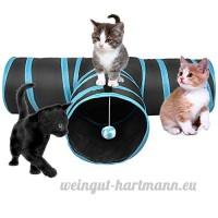 FORET TERRAIN Chat jouet  Chat 3 Canaux en Noir et bleu à Jouer Chat Activité avec La balle à l'entrée d'un tunnel pour lapins  Chatons et les petits chiens - B071WCDZ6B