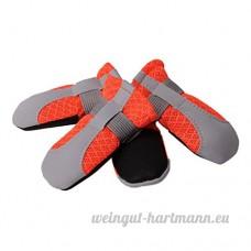 non-brand MagiDeal 4pcs Chien Chat Chaussettes d'Eté Réfléchissant Pantoufles Antidérapantes - Orange  L: 50x55mm - B07DKH6DH2
