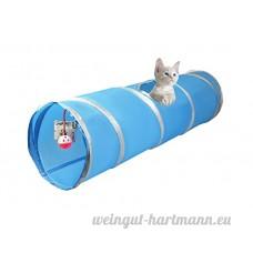 Cosy Life® tunnel pour chat avec jouet intégré 86 x 25 cm  couleur: Bleu/blanc - B07BSBWZ21