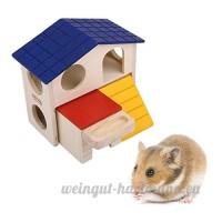 WINOMO Maison en Bois pour Hamster Souris Gerbille Petite Animalerie Cachette Habitat - B01NCNR3BO