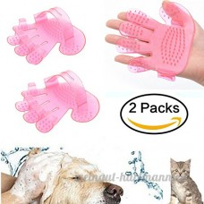 Nibesser 2PCS Silicon Pet Gant de Toilettage Massage Chien Chat Fourrure Brosse de Bain Epilateur Rose - B073XLYSYL