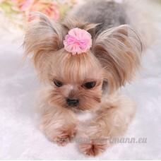 Distinct® 2pcs fait à la main chien chat accessoires de cheveux chiot cheveux bowknot dentelle fleur fournitures de toilettage (rose) - B076F5V9T9