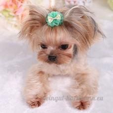 Distinct® 2pcs fait à la main chien chat accessoires de cheveux chiot cheveux bowknot dentelle fleur fournitures de toilettage (vert) - B076F8BV1K