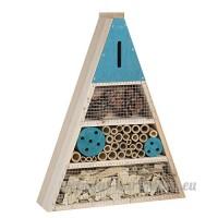 Maison à insectes  hôtel refuge en bois forme triangle à poser ou suspendre détails bleus - B07BP6RBZ4