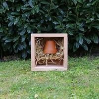 Hôtels à insectes  le petit cube pot terre cuite paille  hôtel à insectes en bois massif pour insectes auxiliaires du jardin - Fabrication artisanale Française - B06XS14SBG