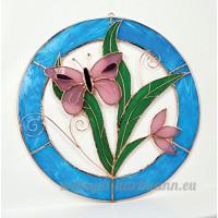 Petit Papillon Rose Circle Panneau de la fenêtre - B00PYES4LE