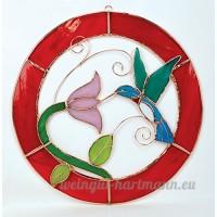 Grand cadre Motif Colibri Rouge cercle Panneau de la fenêtre - B00PYER2YY